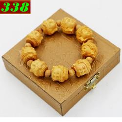 Vòng tay gỗ Ngọc am khắc Phật A di đà kèm hộp gỗ