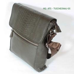 Túi đeo chéo da bò nâu - 05