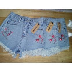 quần jean short nữ thêu