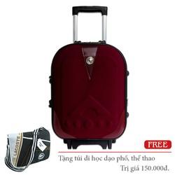 Vali kéo vải pha da du lịch nhỏ xách tay màu đỏ Bordeaux TL046