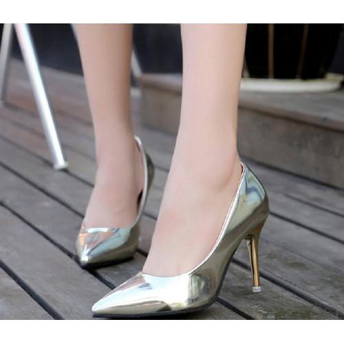 Giày cao gót bít mũi bạc 7p gcg04  fom ôm