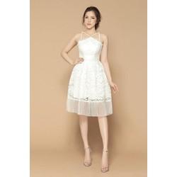 Đầm xòe cổ yếm phối tùng dập ly cao cấp 5 màu đỏ, đen, trắng, da, hồng
