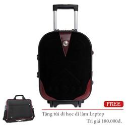 Vali vải kéo pha da du lịch nhỏ xách tay giá rẻ đựng 7Kg màu đen TL045