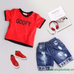Bộ quần jean áo thun chữ Goofy cho bé trai
