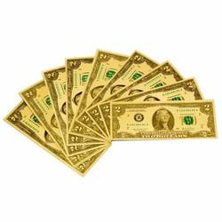 Bộ 10 Tờ 2 USD Mạ Plastic Lì Xì Đầu Năm