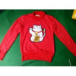 áo thun tay dài cổ lọ hình con mèo xinh xắn