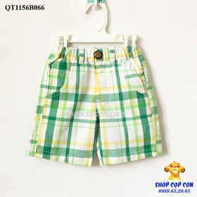 Size 8-12. Quần short caro xanh lá vàng - QT1156B066