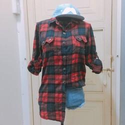 Thanh ly áo sơ mi caro đỏ đen tuyệt phối