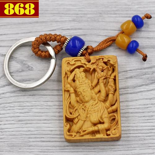 Combo 3 móc khóa Quan âm nghìn tay - gỗ hoàng đàn
