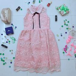 Đầm ren tiểu thư hồng ngọt ngào