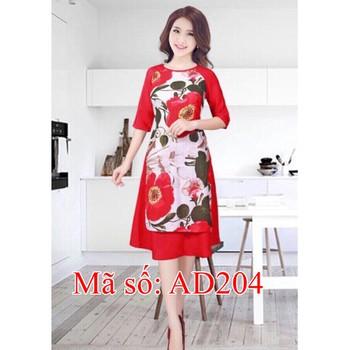 Set Áo Dài Cách Tân họa tiết hoa lớn phối tay đỏ kèm váy SIZE LỚN