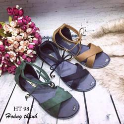 Giày sandal quai chéo HT-98 ĐEN CÓ SIZE 40, 41 CHO NGƯỜI CHÂN LỚN