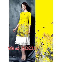 Set áo dài cách tân gấm nền vàng họa tiết hoa bướm kèm váy dập ly