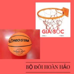 combo lưới vành 40cm + bóng rổ số 5