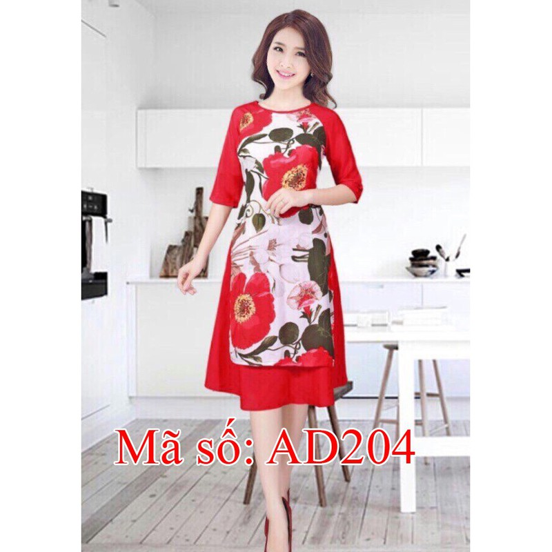 Set Áo Dài Cách Tân họa tiết hoa lớn phối tay đỏ kèm váy SIZE LỚN 4