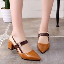Giày gót vuông khóa kiểu cao cấp