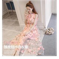 Đầm maxi ren hoa hồng nổi cao cấp hàng thiết kế