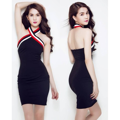 Đầm ôm Body Ngọc Trinh viền cổ cá tính