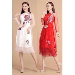 set Áo dài ren thiết kế theo hoa chân váy xòe 2 màu trắng, đỏ