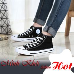 Giày thể thao đen trắng cổ cao Classic Fashion