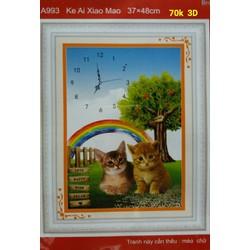 Tranh thêu chữ thập đồng hồ 2 con mèo