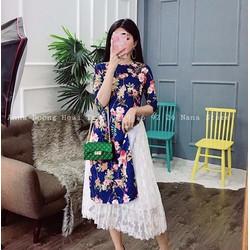 Set áo hoa + váy ren