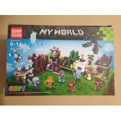 Bộ đồ chơi xếp hình My World 6 chiến binh trong 1 hợp lớn 650 chi tiết