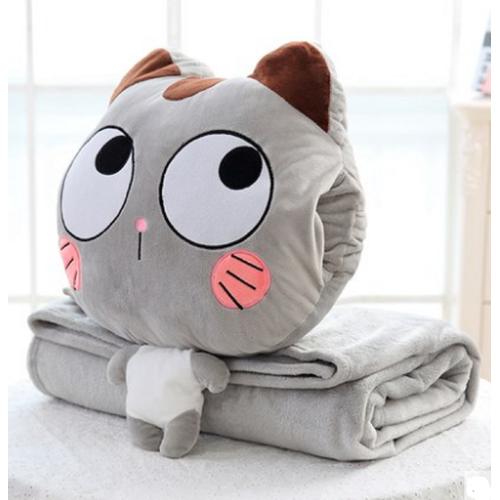 Bộ chăn mền Du lịch mèo ngạc nhiên xám dori 01