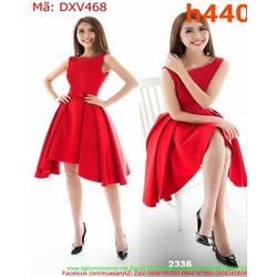 Đầm xòe dự tiệc xếp lớp màu đỏ sang trọng thời trang DXV468