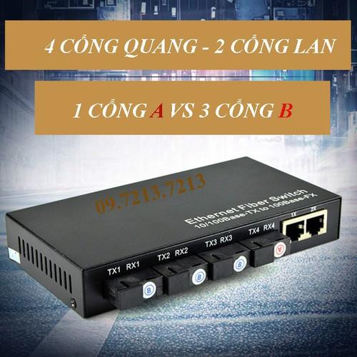 Bộ chuyển đổi quang điện converter quang ftth 2 cổng lan 4 cổng quang