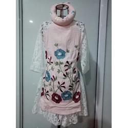 Set áo dài cách tân thêu hoa màu pastel cho bé từ 11kg đến 15kg