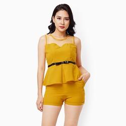 Sét đồ quần short áo phối lưới màu vàng
