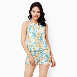 Sét quần short áo 2 dây họa tiết hoa