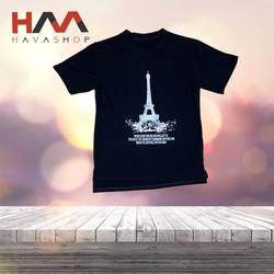 Áo thun nữ cổ tròn tay ngắn Paris màu đen