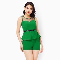 Sét đồ quần short áo phối lưới màu xanh