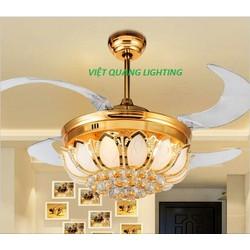 Quạt trần đèn chùm pha lê cao cấp Việt Quang 9305-Quạt trần trang trí