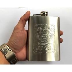 Bình đựng r.ư.ơ.u inox mini 8oz 240ml dập Jack Daniel
