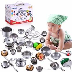 [Free Ship] Bộ đồ chơi nấu ăn bằng inox 40 chi tiết cho bé