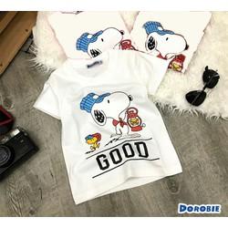 Áo thun mịn đẹp cho bé gái và trai chú chó Snoopy 5-8 tuổi