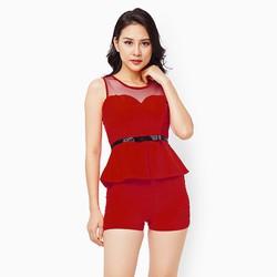 Sét đồ quần short áo phối lưới màu đỏ