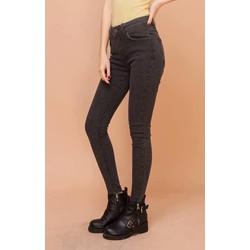 Quần jean nữ lưng cao co dãn màu xám lông chuột