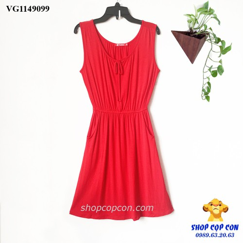 Đầm thun eo thun màu đỏ 36-42kg