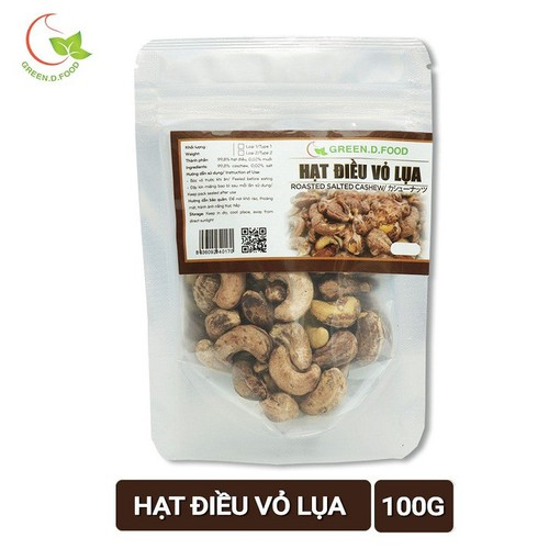 Hạt điều rang muối Vỏ lụa Green D Food - Thượng Hạng - Túi 100g
