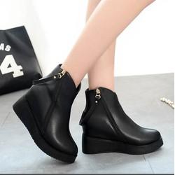 Giày boot xuồng độn 2 dây kéo