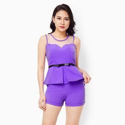 Sét đồ quần short áo phối lưới màu tím