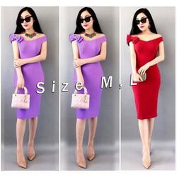 Đầm body đính vai nơ Bạch Nguyễn