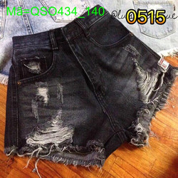 Quần jean short nữ rách đen tua cá tính sành điệu QSO434