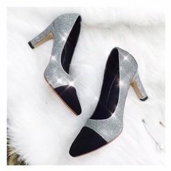 giày cao gót kim tuyến bít mũi