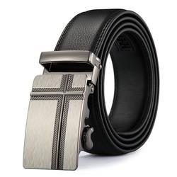 Thắt lưng da nam, khóa tự động, chỉ may 2 lớp cực bền mặt chữ thập