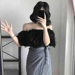 Áo lông rớt vai nữ